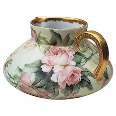 """Fabulous Jean Pouyat Limoges France 1900's Hand Painted """"Peach Roses"""" Floral Cider Pitcher by the Highly Regard Artist, """"Ester Miler"""""""