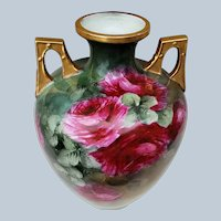 "Just Stunning Vintage O. & E.G. Royal Austria 1900's Vibrant & ""Deep Red Roses"" 9.1/4"" Floral Two Handle Vase"