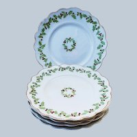 "Charming Vintage England W.H. Grindley Co. 1900 Set of 6 ""Christmas Holly & Berry"" Season Dessert Plates"