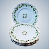 "Charming Vintage England W.H. Grindley Co. 1900 Set of 6 ""Christmas Holly & Berry"" Season Dessert Plates"