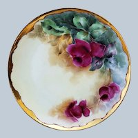 "Gorgeous Vintage Haviland France 1900 Hand Painted ""Deep Red Roses"" Floral Plate by Ogden, Merrill, & Green"