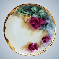 """Gorgeous Vintage Haviland France 1900 Hand Painted """"Deep Red Roses"""" Floral Plate by Ogden, Merrill, & Green"""
