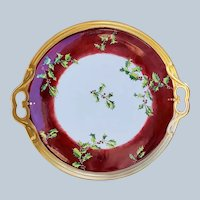 "Gorgeous 16"" Limoges France 1900's Hand Painted ""Christmas Holly & Berry"" Large Seasonal Tray in Rich Red-Brown Decor"