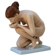 "Beautiful Vintage Rosenthal Germany 1934 Hand Painted ""Nude Drinking Water"" 6-1/2"" Art Deco Figurine"