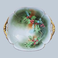 "Gorgeous Vintage Italian Ginori 1900's Hand Painted ""Christmas Holly & Berry"" 10-1/4"" Holiday Bowl by Artist, ""J. Sassi"""
