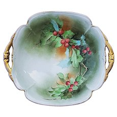 """Gorgeous Vintage Italian Ginori 1900's Hand Painted """"Christmas Holly & Berry"""" 10-1/4"""" Holiday Bowl by Artist, """"J. Sassi"""""""
