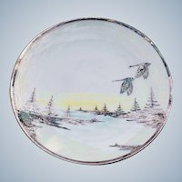 """Stunning Lenox Belleek With Sterling Silver Overlay 1900's Hand Painted """"Canadian Geese Flying In Winter"""" 10-5/8"""" Pedestal Cake Plate"""