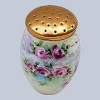 "Beautiful Vintage Bavaria 1900's Hand Painted ""Red & Yellow Roses"" 4-1/2"" Floral Sugar Shaker"