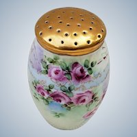 """Beautiful Vintage Bavaria 1900's Hand Painted """"Red & Yellow Roses"""" 4-1/2"""" Floral Sugar Shaker"""