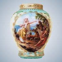 "Wonderful Royal Vienna Beehive 1900's ""Biblical Scene of Man & Woman"" 2-3/4"" Scenic Sample Size Vase"