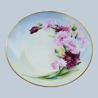 "Gorgeous Austria & France Studio 1915 Hand Painted ""Red & Pink Carnations"" 8-1/2"" Floral Plate"