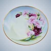 """Gorgeous Austria & France Studio 1915 Hand Painted """"Red & Pink Carnations"""" 8-1/2"""" Floral Plate"""