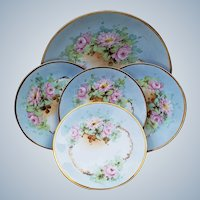 """Gorgeous Vintage J & C Bavaria Professionally Decorated 1900's Hand Painted """"Wild Pink Roses"""" 5-Pc Floral Dessert Set"""