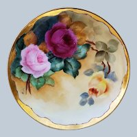 "Beautiful Vintage Haviland France 1900 Hand Painted ""Deep Red, Pink, & Yellow Roses"" Floral Plate by Ogden, Merrill, & Green, Artist, ""Mattie"""