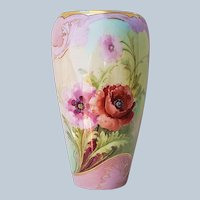 "Breathtaking Willets Belleek 1900's Hand Painted ""Burnt Orange & Pink Poppies"" 8-3/8"" Floral Vase by Highly Regarded Artist, ""C. Morley"""