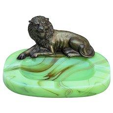 "Outstanding Vintage 1920's Art Deco ""Bronze Lion"" 7-1/2"" Green Glass Agate Slag Glass Cigarette & Cigar Ashtray"
