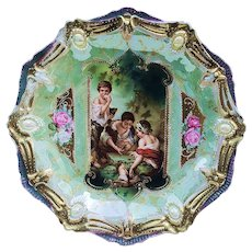 """Wonderful Vintage RS Prussia 1900 """"Dice Thrower"""" Ribbon & Jewel Mold 8-1/2"""" Scenic Plate"""
