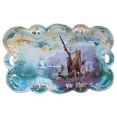 "Fabulous Vintage RS Prussia 1900 ""Mast Ship"" 11-3/8"" Colorful Scenic Dresser Tray"