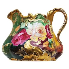 "Spectacular T & V Limoges France 1900's Hand Painted Vibrant ""Red, White, & Yellow Roses"" 7-5/8"" Fabulous Fancy Mold Floral Cider Pitcher by the Listed French Artist, ""A. Bronssillon"""