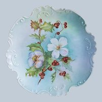 "Fancy Scallop Bavaria 1900's Hand Painted ""Christmas Roses Holly & Berry"" 8-3/8"" Floral Plate by Artist, ""Cele Rilbius"""