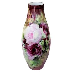 """Stunning & Spectacular 14-7/8"""" Willets Belleek 1904 Hand Painted """"Red, Pink, & Yellow Roses"""" Floral Vase by Artist, """"Hanker"""""""