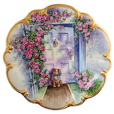 "Beautiful 14"" Bavaria Tirschenreuth Germany 1900's Hand Painted ""Puppy Dog with Red & Pink Roses"" Scenic & Floral Charger by Pickard Artist, ""Carl Koenig"""