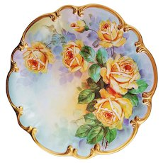 """Gorgeous 14"""" Bavaria Tirschenreuth Germany 1900's Hand Painted """"Deep Yellow Roses"""" Scallop Floral Charger by Pickard Artist, """"Carl Koenig"""""""