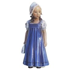 "Stunning Dahl-Jensen Copenhagen Denmark Hand Painted The Danish Girl ""Hanne in Blue Dress"" 8-1\4"" # 1219 Figurine"