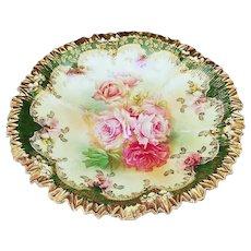 "Stunning RS Prussia Vintage 1900's ""Red & Pink Roses"" 8-1/2"" Crimp Mold Floral Plate"