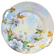 """Stunning Vintage Thomas Bavaria 1900's Hand Painted """"Wild Pink Roses"""" 10-5/8"""" Floral Plate by Artist, """"Jaeger"""""""