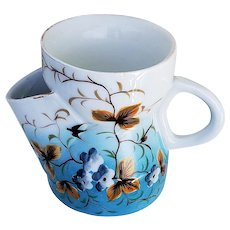 """Charming Vintage ES Germany[RS] 1890's Hand Painted """"Swallows & Violets"""" 3-1/2"""" Floral & Scenic Shaving Mug"""