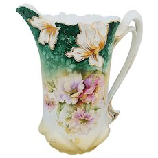 """Gorgeous RS Prussia 1900's """"Lavender & White Poppies"""" 10"""" Floral Tankard with Blown Out Irises"""