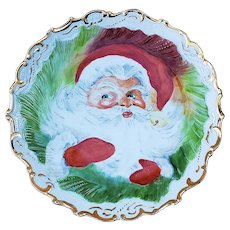 "Wonderful Bavaria 1900's Hand Painted Portrait of ""Santa Claus"" 10"" Christmas Plate by Artist, ""Cleo Weber"""