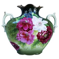 """Spectacular Vintage Bavaria 1900's Hand Painted """"Red, Pink, & White Roses with Red Carnations"""" 8"""" Floral Pillow Vase by Artist, """"Richter"""""""