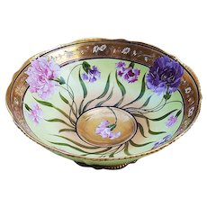 """Stunning D'Arcy's Studio & Limoges France 1900's Hand Painted """"Red, Pink, & Purple Roses & Lilies"""" 9-1/4"""" Pedestal Fruit Bowl by Listed Artist, """"E. Torres"""""""