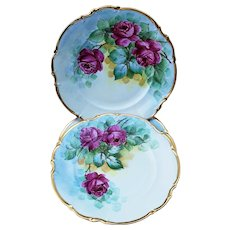 """Beautiful Hutschenreuther Bavaria Germany & Osborne Studio of Chicago 1900's Hand Painted"""" Set of 4 Floral Plates by"""