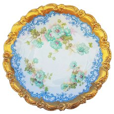 "Beautiful Blakeman & Henderson Limoges France 1900 Hand Painted ""Blue-Green Carnations"" 8-1/2"" 22 K Gold Floral Plate"