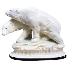 "Gorgeous German Sitzendorf 1900's Hand Painted ""Pair of Polar Bears"" 7-5/8"" Figurine"