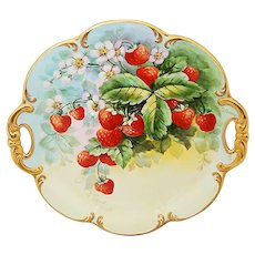 "Beautiful 12-3/4"" Bavaria Tirschenreuth Germany 1900's Hand Painted Vibrant ""Strawberries & Blossoms"" Scallop Fruit & Floral Charger by Pickard Artist, ""Carl Koenig"""