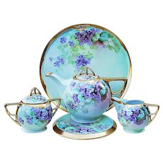 "Spectacular Pickard Studio of Chicago 1900's Hand Painted Lifelike ""Violets"" 7 Pc Tea Set by Artist, ""Howard Reury"""