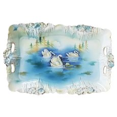 "Gorgeous Vintage RS Prussia 1900's ""Three Swans On A Lake"" Icicle Mold 11-1/2"" Scenic Dresser Tray"