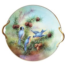 "Wonderful ""Paul Putzki"" 13"" Vintage GDA France 1900's Hand Painted ""Bluebirds and Pine Cone"" Scenic Plate"