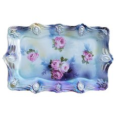 """Spectacular Vintage RS Prussia 1900's """"Red & Pink Roses"""" 12"""" Ribbon & Jewel Mold Lavender Satin Finish Floral Tray"""