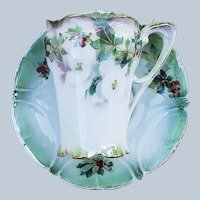 """Elegant """"Holly & Berry"""" RS Prussia Vintage 1900's Christmas Decor Chocolate Cup & Saucer"""