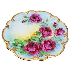 "Exquisite 14-1/8"" Bavaria Germany 1930-40's Hand Painted Vibrant ""Deep Red Roses"" Large Floral Charger by Pickard Artist, Carl Koenig"""