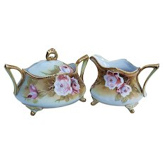 "Gorgeous Vintage Nippon 1900 Hand Painted ""Pink Roses"" Footed & Creamer & Sugar Set"