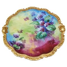 """Gorgeous Vintage Cornet Limoges France 1900 Hand Painted Vibrant """"Violets"""" with Intense Colors Floral Plate by French Artist, """"Duval"""""""