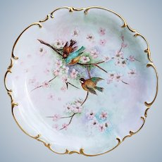 "Charming 13"" Vintage Hutschenreuther Selb Bavaria Germany 1900's Hand Painted ""Bluebird & Sparrows Among Apple Blossom"" Charger by Artist, ""M. McHenry"""