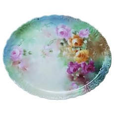 """Gorgeous Vintage Jean Pouyat Limoges France 1900's Hand Painted """"Red, Pink, & Yellow Roses"""" 12-1/4"""" Floral Tray"""