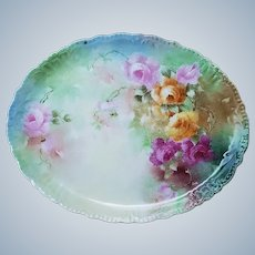 "Gorgeous Vintage Jean Pouyat Limoges France 1900's Hand Painted ""Red, Pink, & Yellow Roses"" 12-1/4"" Floral Tray"